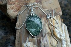 Seraphinite pendant silver wire wrapped oval shape by SAGaStone Wire Wrapped Jewelry, Wire Jewelry, Order Of Angels, Green Gemstones, Oval Shape, Wire Wrapping, Etsy Shop, Pendant Necklace, Drop Earrings