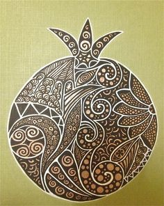 pomegranate doodle Jewish Crafts, Jewish Art, Doodle Artist, Grenade Fruit, Pomegranate Art, Jewish Celebrations, Fall Coloring Pages, Pomes, Sgraffito