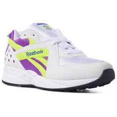 8fef23811a9 Reebok Shoes Unisex Pyro in Wht Viciousviolet Neonyellow Size M 6.5   W 8
