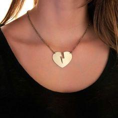 Colar Coração Raio Dourado   iBacana