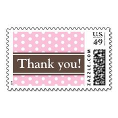 Shop Aqua polka dots thank you postage stamp, brown created by TheStationeryShop. Teal Wedding Invitations, Wedding Stationery, New Baby Announcements, Pink Polka Dots, Pink Brown, Postage Stamps, New Baby Products, Baby Shower, Bridal Shower