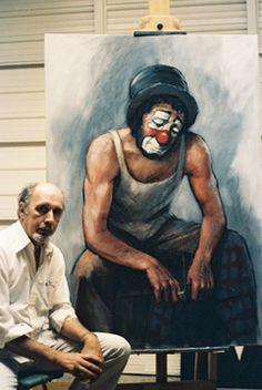 Emmet Kelly - paintings & prints   - (Leighton-Jones poses with a large self-portrait as Emmett Kelly C 1985)