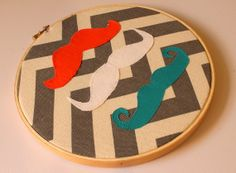 Mustache Nursery Embroidery Hoop with Chevron by oliversfancy, $15.00