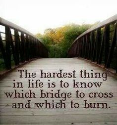 The hardest thing in life is to know which bridge to cross the witch to burn.