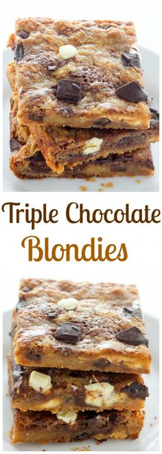 Triple Chocolate Blondies -Thick, chewy, and loaded with chocolate! YUM.
