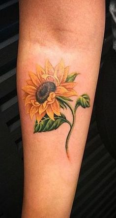 Small Colorful Sunflower Forearm Tattoo ideas for Women – Realistic Flower Arm T… Sunflower tattoo – Fashion Tattoos Sunflower Tattoo Meaning, Sunflower Tattoo Simple, Sunflower Tattoo Shoulder, Sunflower Tattoos, Sunflower Tattoo Design, Small Sunflower, Leg Tattoos Small, Foot Tattoos For Women, Forearm Tattoos