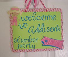 Sleepover Party Sign  Girls Sleepover Party by KatlinLee123,