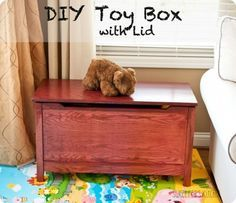Looking for a simple toy storage solution? Check out these plans to build your own Land of Nod inspired toy box with a safety hinge lid!