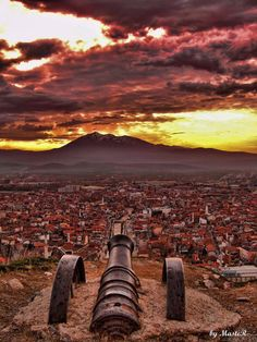 View of Prizren and Mount Pashtrik from castle