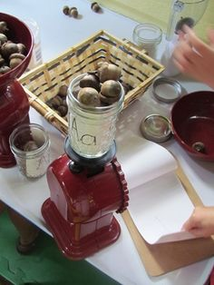 Acorn math in preschool by Teach Preschool--  Explore the science, work with scales for math, draw and graph your results, and of course, counting.  Could go on a hunt around the room when finished to collect other items that begin with A.