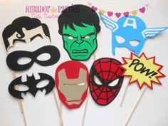 Superhero Photo Booth Props by AmadordeParties on Etsy, $22.00