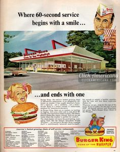 Burger King: The vintage fast food restaurant they called 'delightfully different' - Click Americana Old Advertisements, Retro Advertising, Retro Ads, Advertising Campaign, Photo Vintage, Vintage Ads, Vintage Food, Vintage Diner, Retro Food