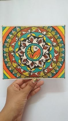 Madhubani Painting shared by Shiyna Mahajan Easy Canvas Painting, Mural Painting, Canvas Art Prints, Pichwai Paintings, African Art Paintings, Mandala Art Lesson, Mandala Drawing, Madhubani Art, Madhubani Painting