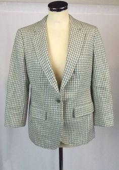 Genuine Ladies BURBERRY 100% Wool Houndstooth Blue Cream Blazer 12 - M21 £5.19
