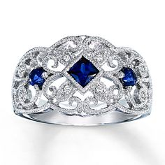 Lab-Created Sapphire Ring With Diamond Accents Sterling Silver