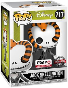 The Nightmare Before Christmas - Jack Skellington Vinyl Figure 717 - Collector& figure - Standard - Size: Standard Jack Disney, Pop Disney, Jack Skellington, Funk Pop, Funko Pop Figures, Pop Vinyl Figures, Funko Pop Display, Funko Pop Dolls, Disney Fun Facts