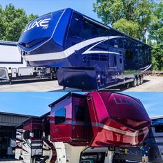 RED, WHITE & BLUE our full body automotive grade paint is a sight to behold! With NO decals and ability to match near any color your bound to turn heads. Dive into our customization options by using a builder! Fifth Wheel Living, Luxury Fifth Wheel, Luxury Rv, 5th Wheels, Rv Living, Outdoor Gear, Diving, Tent, Darth Vader