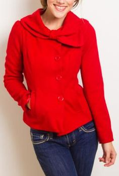 Accidentally in Love Bow Collared Coat in Passionate Red   Sincerely Sweet Boutique