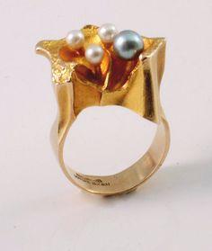 "Bjorn Weckstrom 14K Gold Ring, ""Four Winds"", c. 1973."