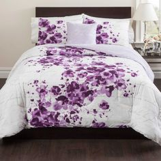 I am planning on painting my bedroom walls purple i think this grey purple and white comforter l bed bath and beyond mightylinksfo