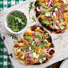 Grilled Peach Chutney Pizza with Prosciutto and Goat Cheese  | MyRecipes.com