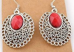 EA113 Tibetan silver exquisite RED crystal drop earing with hook style - suitable only to piercings. Normally retails for around $25 each - my selling price (including postage within Australia) is $15.00 each... Please feel free to contact me if your require price for postage overseas…