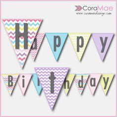 free birthday bunting banner printable chevron birthday birthday bunting free birthday rainbow birthday