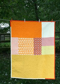 Love the big areas of color (no little patches). | Dots and Elephants Orange Quilt by Insung from NAMOO, via Flickr