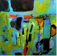 """Price: $3,400  MARY CHANG  Blue Reigns   Oil and Acrylic on Canvas, 36"""" x 36""""  Estimated Value: 6,000  Contact: charlotte@rushartsgallery.org"""