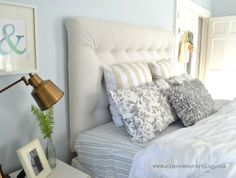 aimee weaver my pink life master bedroom --love the airy open feeling the colors the lamp