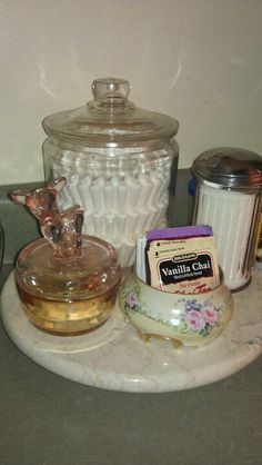 Coffee/Tea Station  glass container for filters covered dish for sugar cubes container for various teas