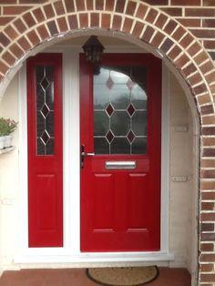 2 Panel 1 Square Drop Diamond Composite Front Door in Red