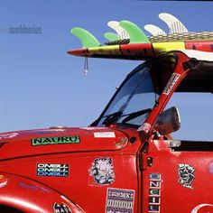 David Constantine Solid-Faced Canvas Print Wall Art Print entitled O'neill Surfboard On Volkswagen Beetle, Puerto Escondido, Mexico Canvas Wall Art, Wall Art Prints, Surf Stickers, Surf Style, Primary Colors, Beetle, Red And Pink, Wrapped Canvas, Surfboard