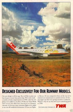 TWA B767-200 IN NEW LIVERY RUNWAY MODEL 1995 AD - Trans World Airlines