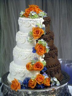 Hald and Half wedding cake