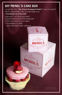 2 sizes: Mendl's Patisserie pink gift box from the Wes Anderson film The Grand Budapest Hotel