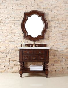 "36"" Castilian Single Sink Bathroom Vanity, Aged Cognac – VANITIES EXPO"
