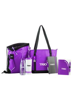#TRIO Essential Perfect 10 Gift Set. Includes, Newport Cooler Bag, Essential U-Turn Air Mesh Sport Pack, Americana Party Tumbler, Tira Plastic Double Wall Tumbler, Curvy Top Notebook with Pen, Chester Journal Book with Stylus Pen, Curvaceous Metallic Stylus with Highlighter, Pocket Pal Aluminum Tool, Neptune Stuff-It, and Rocket Flashlight.
