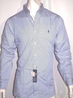 Polo Ralph Lauren striped poplin men's shirt tailored trim fit size large NWT  #RalphLauren #ButtonFront