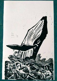 estampe, linogravure, la baleine. de la boutique lesgribouillisdeMomo sur Etsy
