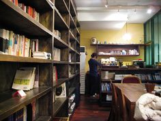 Inside korean coffee shop with bookshop