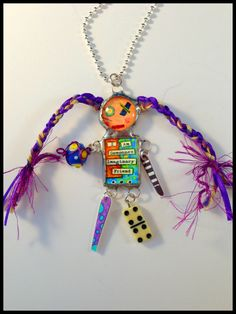 Doll Necklace Art Doll Penny Jewelry Silver by WhirligirlDesigns, $20.00