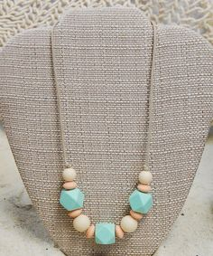 Teething necklaces are getting so much cuter! Mint & Sand Harmony Necklace #zulilyfinds