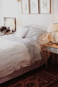 Brooklyn bedroom with polka dot sheets