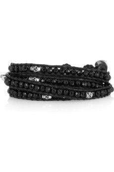 Chan Luu  Onyx beaded skull wrap bracelet