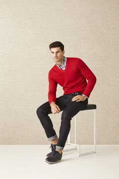 Be mine! Red sweater is a perfect look for casual date night on Valentine's Day.