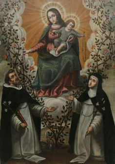 A 17th century Spanish painting of Our Lady of the Rosary with St Dominic and St…