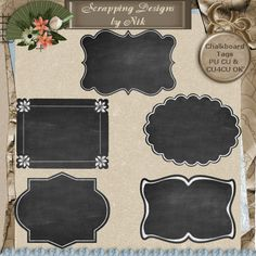 5 chalkboard tags in various shapes. Each tag is over 1400 pixels on the longest side. Use chalk styles or fonts to achieve the chalk effects as shown on these tags. Great as journal cards too! Scrapping Designs by Nik