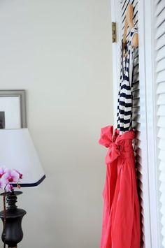 Navy stripes & coral dress