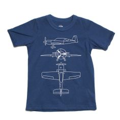Short-Sleeve Graphic Tee - Airplane Blueprint Navy